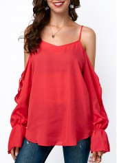 Strappy-Cold-Shoulder-Long-Sleeve-Chiffon-Blouse
