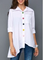 Button Up Asymmetric Hem Pocket White Blouse