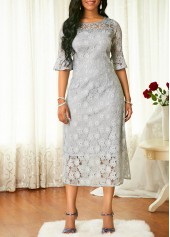 Half Sleeve High Waist Lace Dress