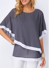 Half Sleeve Dark Grey Chiffon Blouse