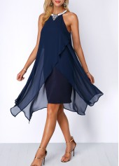 wholesale Asymmetric Hem Embellished Neck Chiffon Overlay Dress