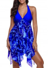 Halter Royal Blue Asymmetric Hem Swimdress and Panty