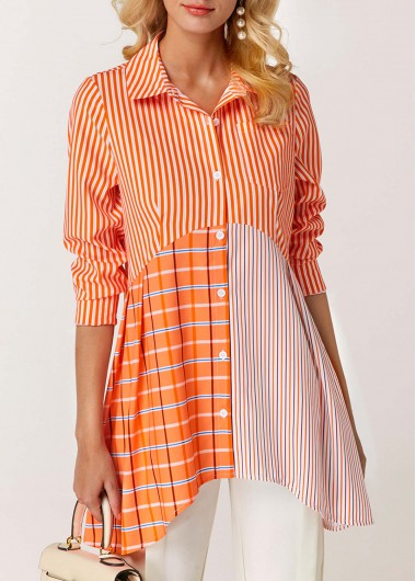 Asymmetric Hem Button Front Orange Blouse