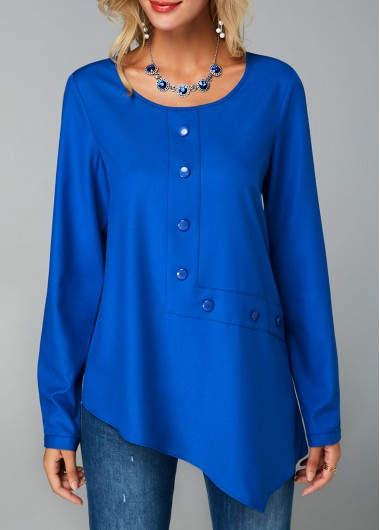 Royal Blue Keyhole Back Button Decorated Blouse