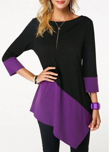 Boat Neck Asymmetric Hem Color Block T Shirt