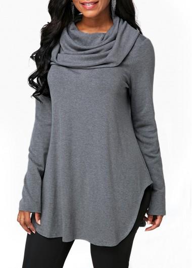 Long Sleeve Cowl Neck Grey Sweatshirt