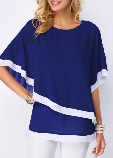 Navy Blue Half Sleeve Chiffon Overlay Blouse