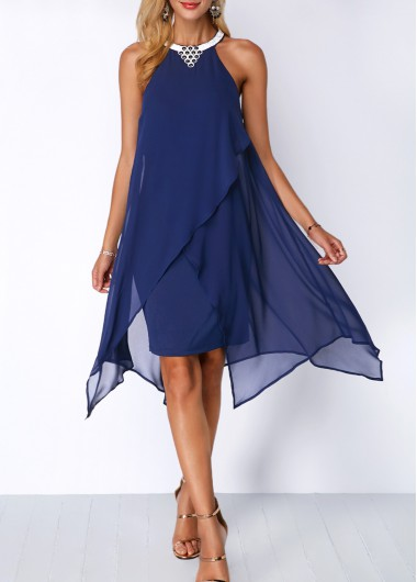 Embellished Neck Chiffon Overlay Blue Dress