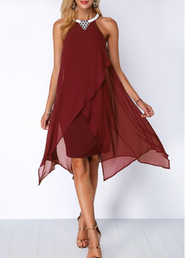 Embellished Neck Wine Red Chiffon Overlay Dress