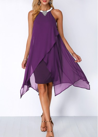 Asymmetric Hem Purple Chiffon Overlay Dress