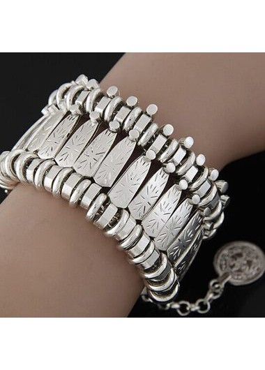 Silver Metal Coin Pendant Wide Cuff Bracelet