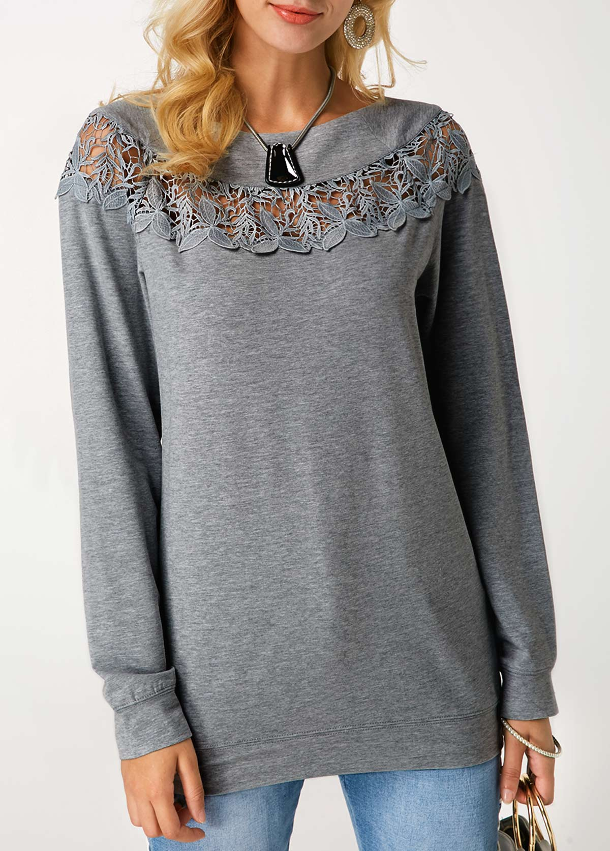 Round Neck Grey Marl Pullover Sweatshirt