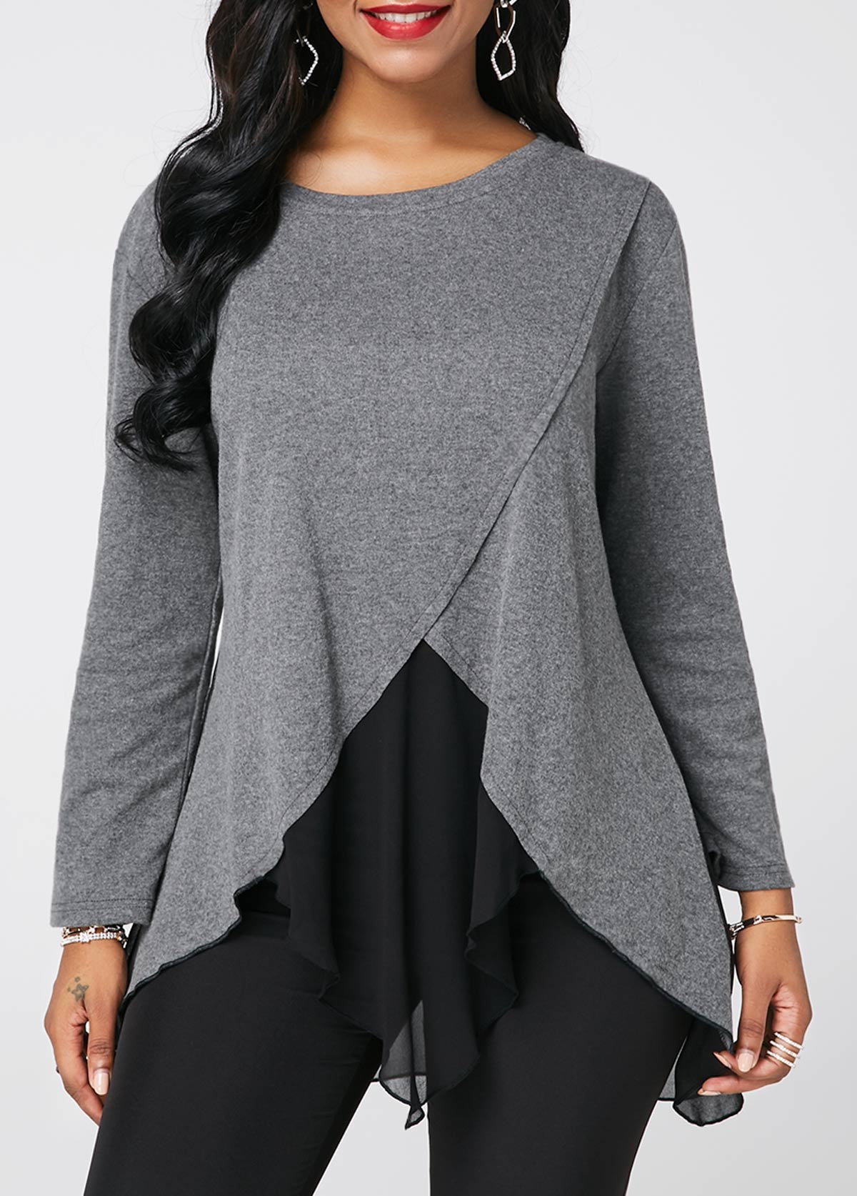 Asymmetric Hem Long Sleeve Light Grey Blouse