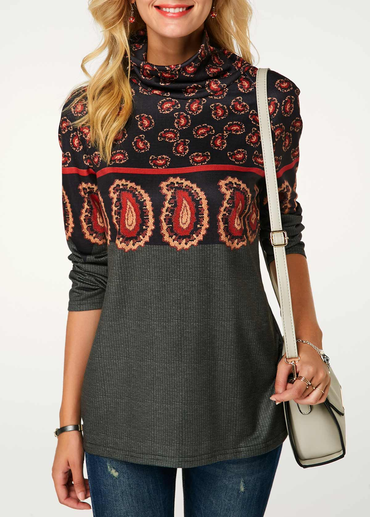 ROTITA Long Sleeve Cowl Neck Printed Sweatshirt