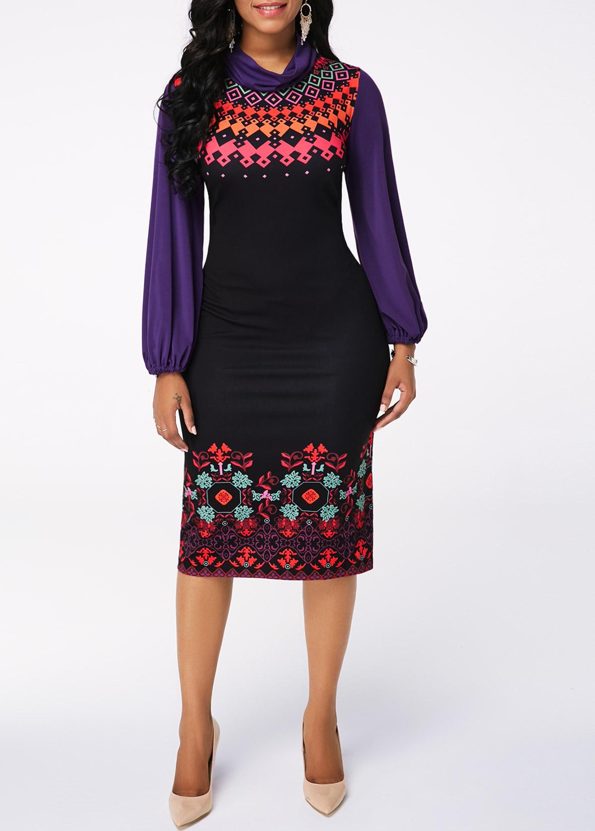 Lantern Sleeve Printed Black Sheath Dress