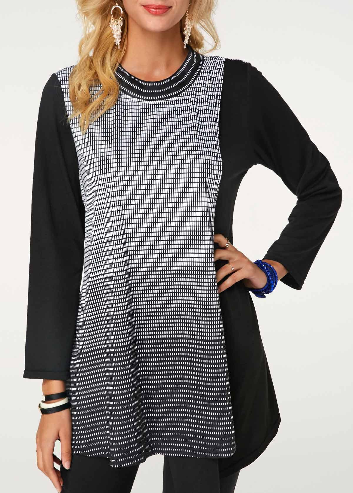 ROTITA Long Sleeve Round Neck Stripe Print Black Blouse