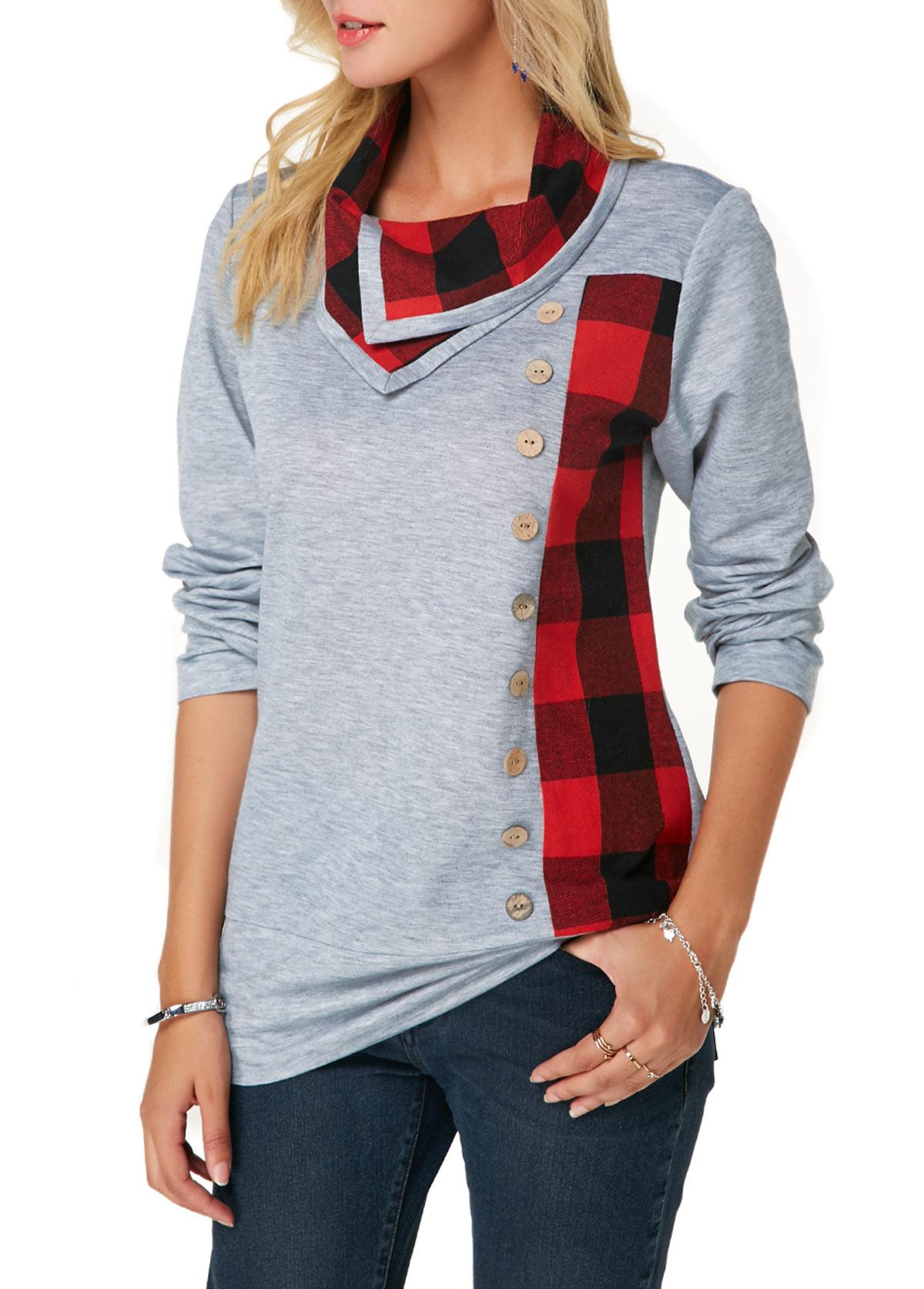 Long Sleeve Button Detail Plaid Print Sweatshirt