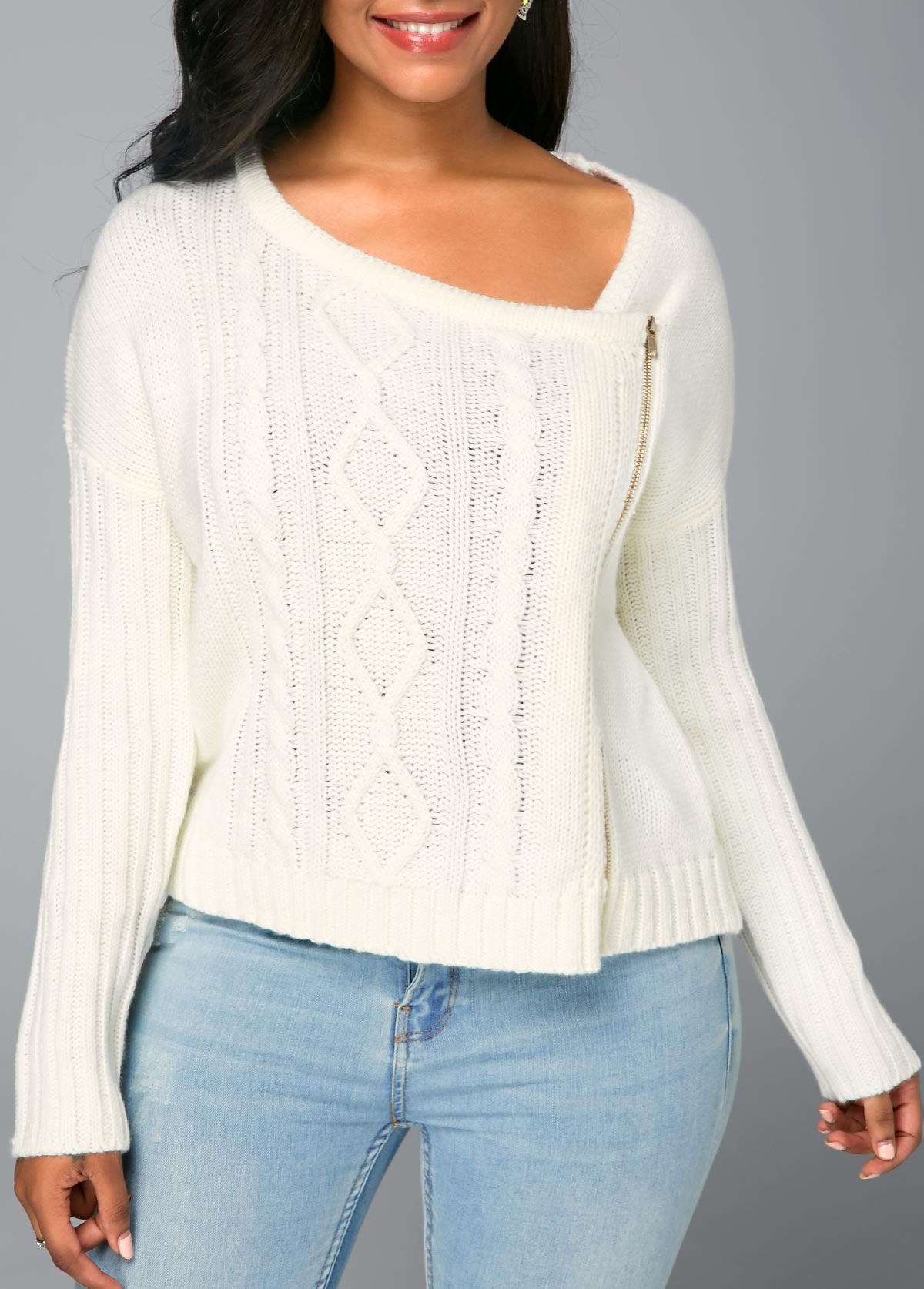 Long Sleeve Zipper Front Beige Knitted Sweater
