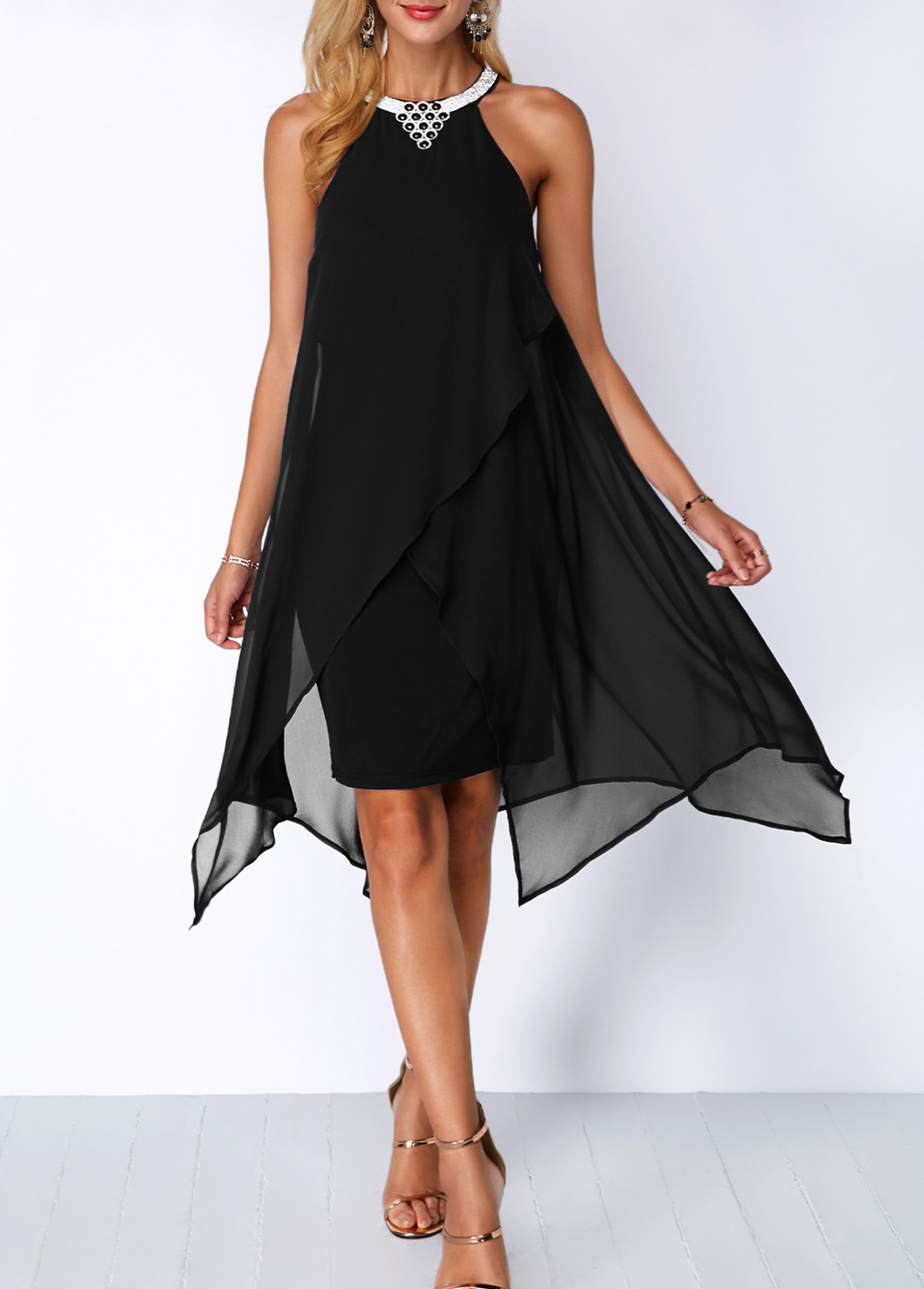 Black Asymmetric Hem Embellished Neck Chiffon Overlay Dress