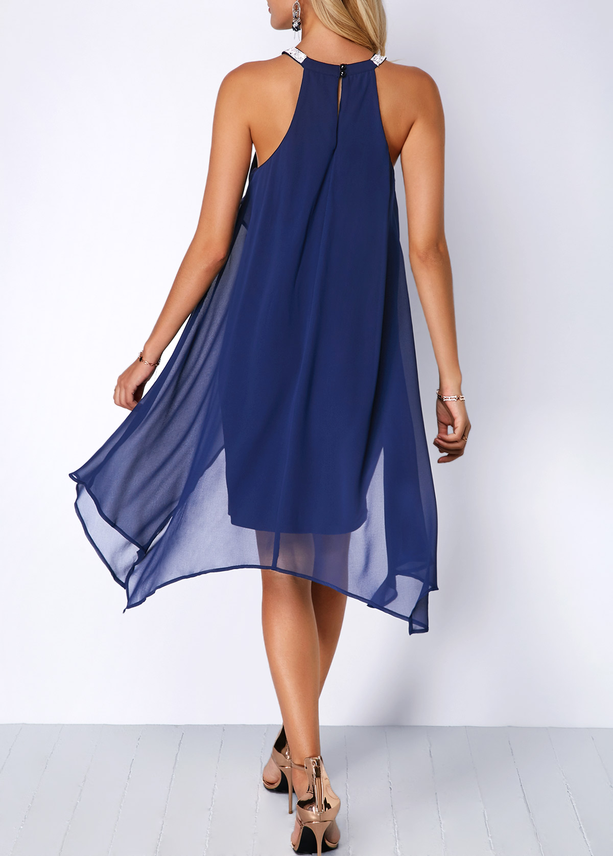 Embellished Neck Chiffon Overlay Blue Dress | Rotita.com ...