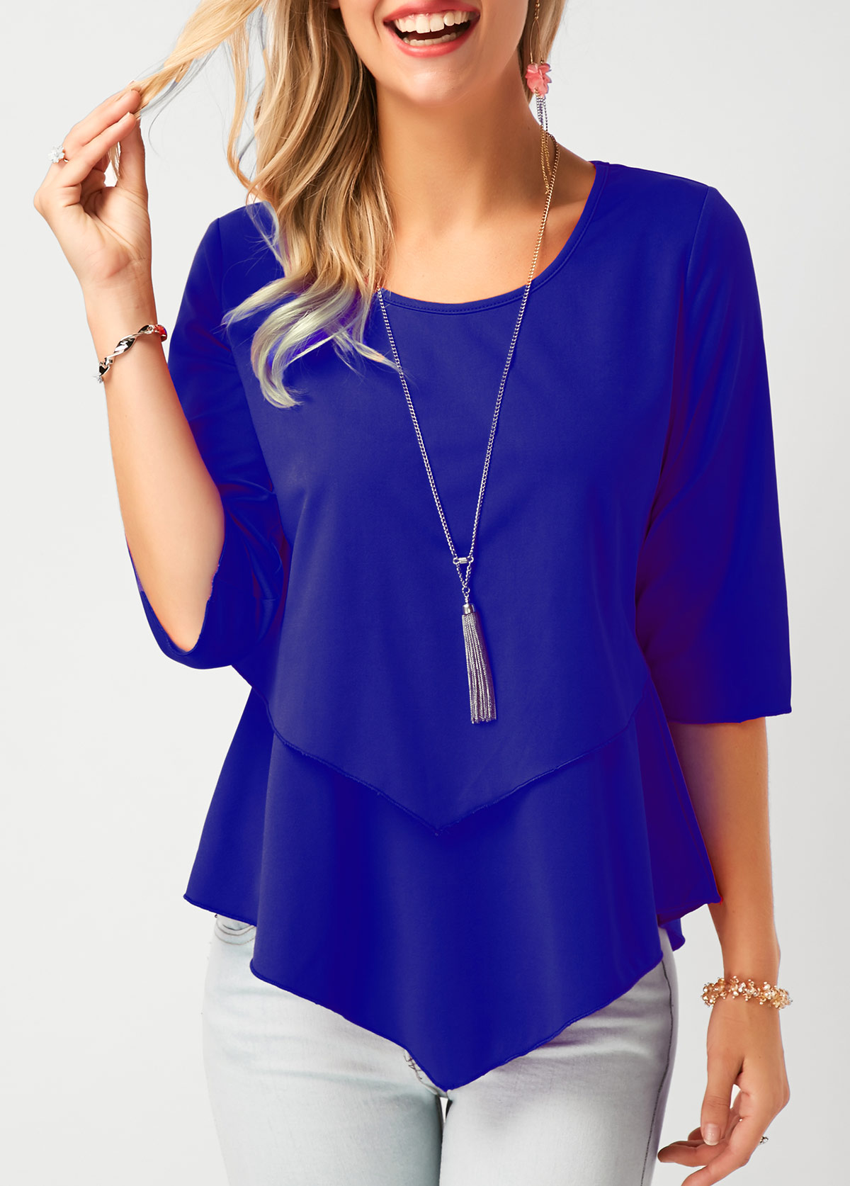 Royal Blue Asymmetric Hem Chiffon Blouse