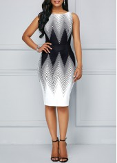 Chevron Print Back Slit Bodycon Dress