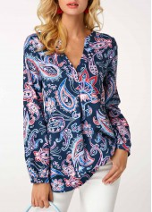 V Neck Printed Navy Long Sleeve Blouse