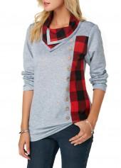 Long-Sleeve-Button-Detail-Plaid-Print-Sweatshirt