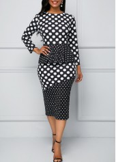 Peplum Waist Long Sleeve Polka Dot Print Dress