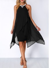 wholesale Black Asymmetric Hem Embellished Neck Chiffon Overlay Dress