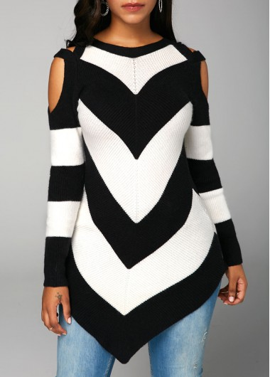 Asymmetric Hem Chevron Pattern Long Sleeve Sweater