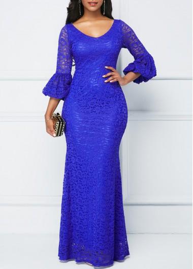 V Neck Royal Blue Lace Dress