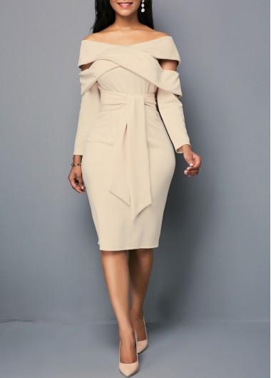 Off the Shoulder Zipper Back Sheath Dress