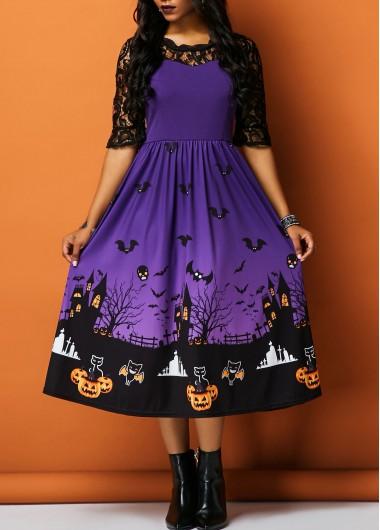 Image of Half Sleeve Lace Panel Printed Halloween Dress