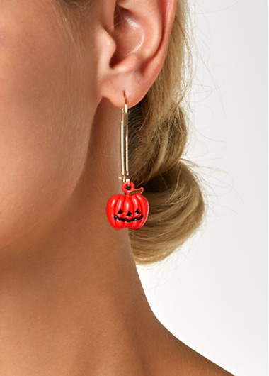Halloween Pumpkin Lantern Pendant Gold Metal Earrings