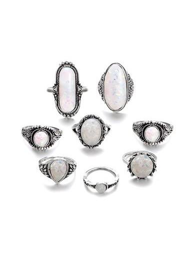 Silver Metal White Rhinestone Decorated Ring Set