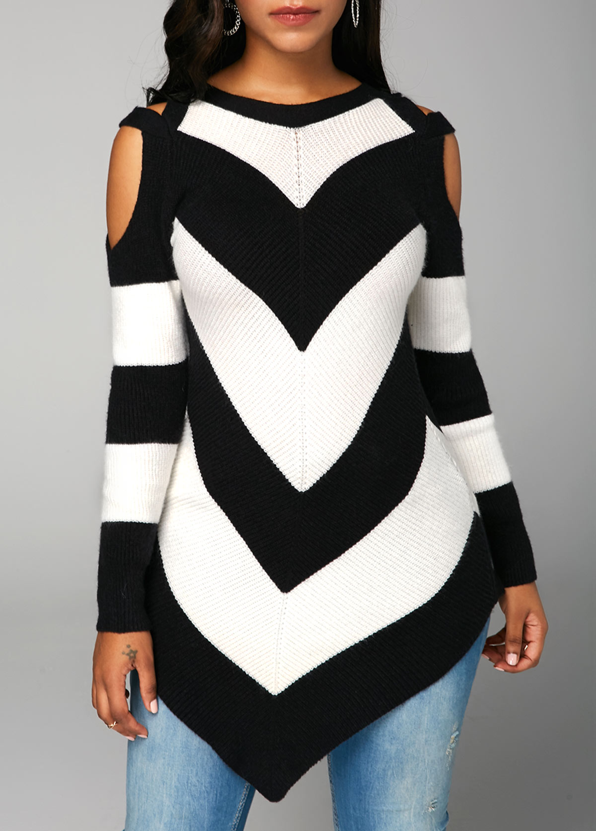 ROTITA Asymmetric Hem Chevron Pattern Long Sleeve Sweater