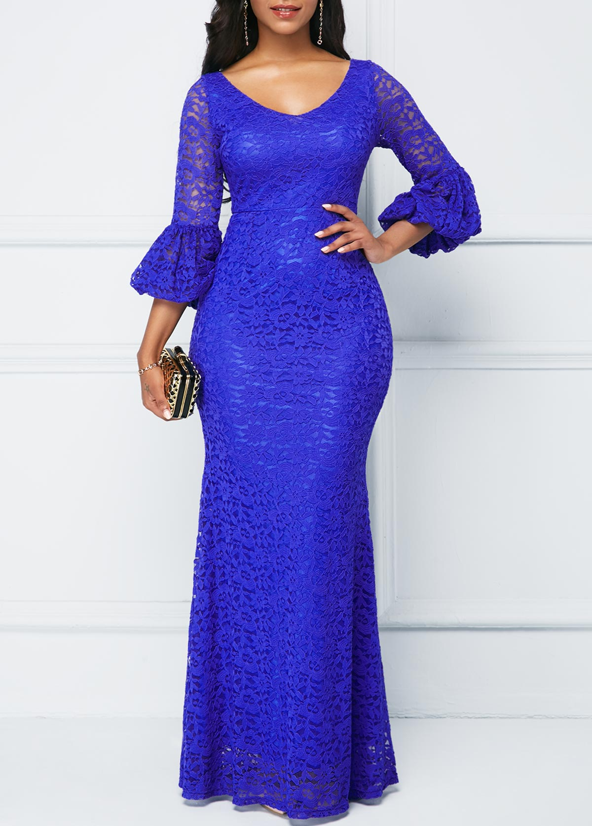 V Neck Royal Blue Lace Dress