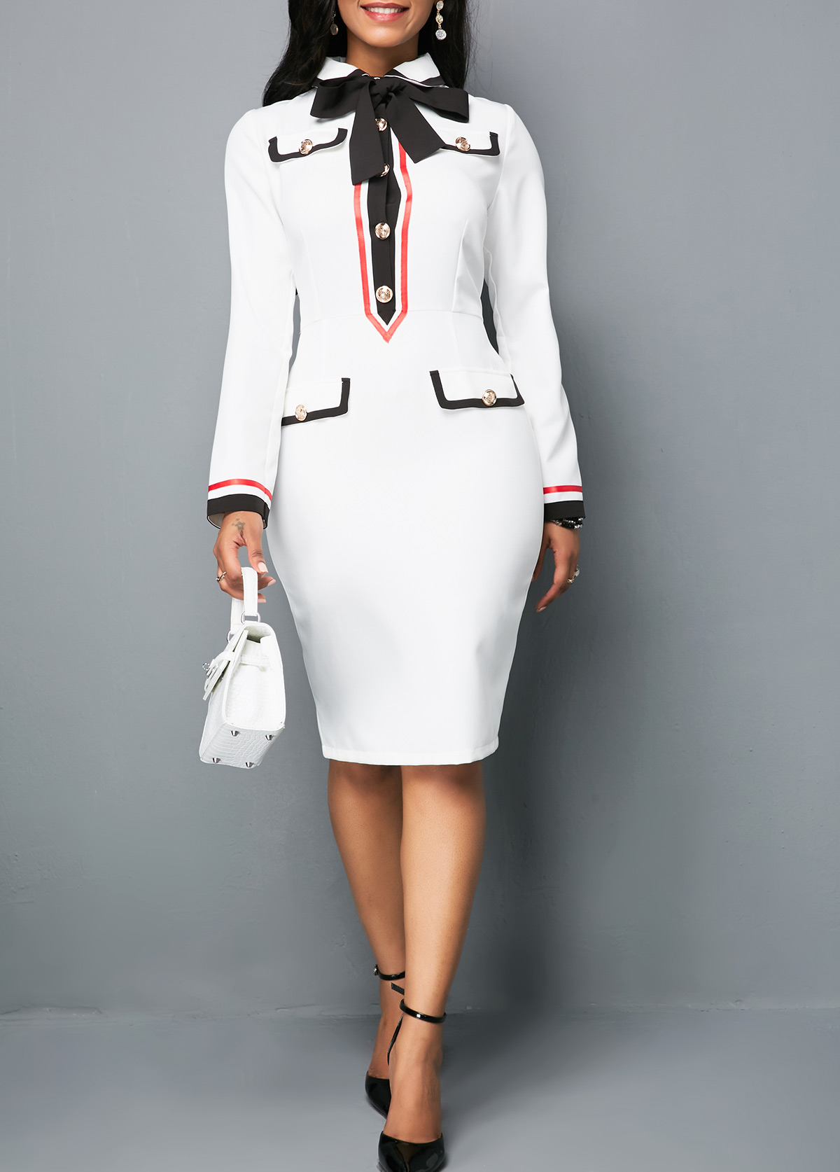 Button Front Long Sleeve White Sheath Dress