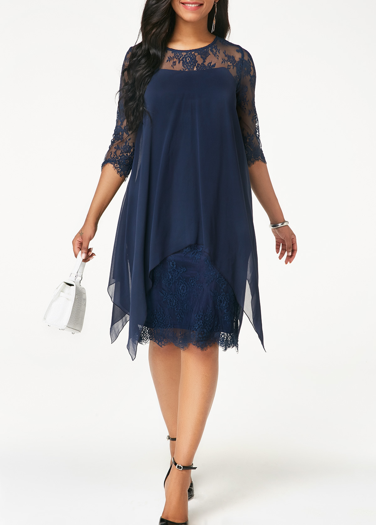 Three Quarter Sleeve Chiffon Overlay Navy Blue Lace Dress