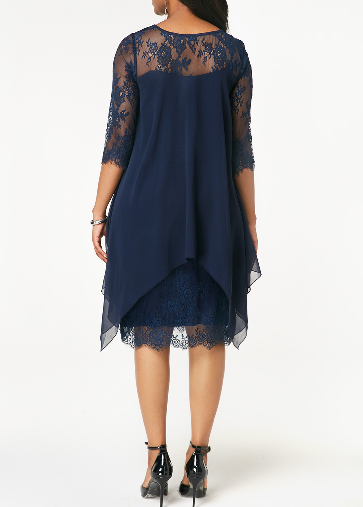 022a3aa9ea9 Three Quarter Sleeve Chiffon Overlay Navy Lace Dress. AddThis Sharing  Buttons. Share to Facebook Share to Pinterest