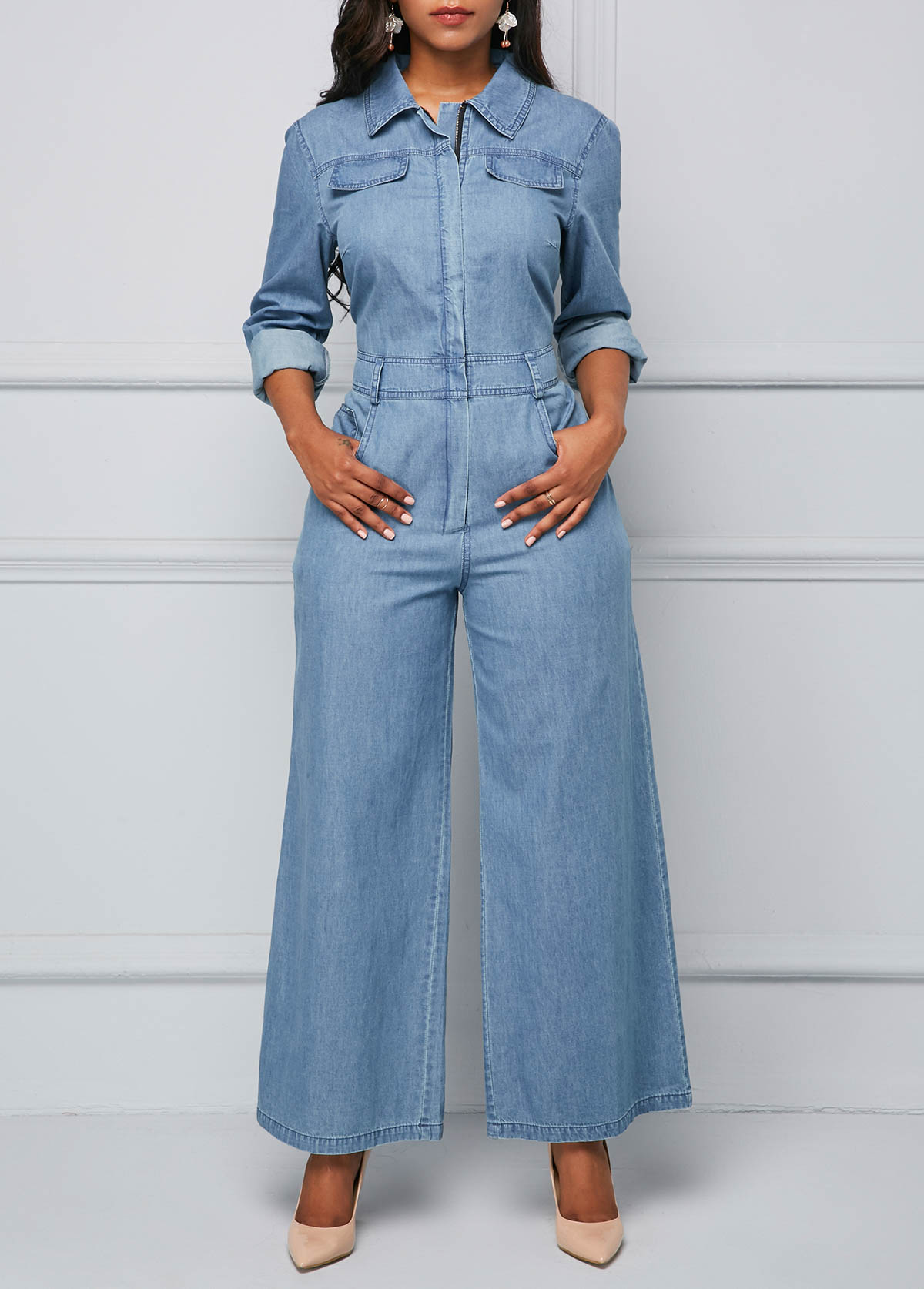 Long Sleeve Pocket Zipper Front Denim Jumpsuit