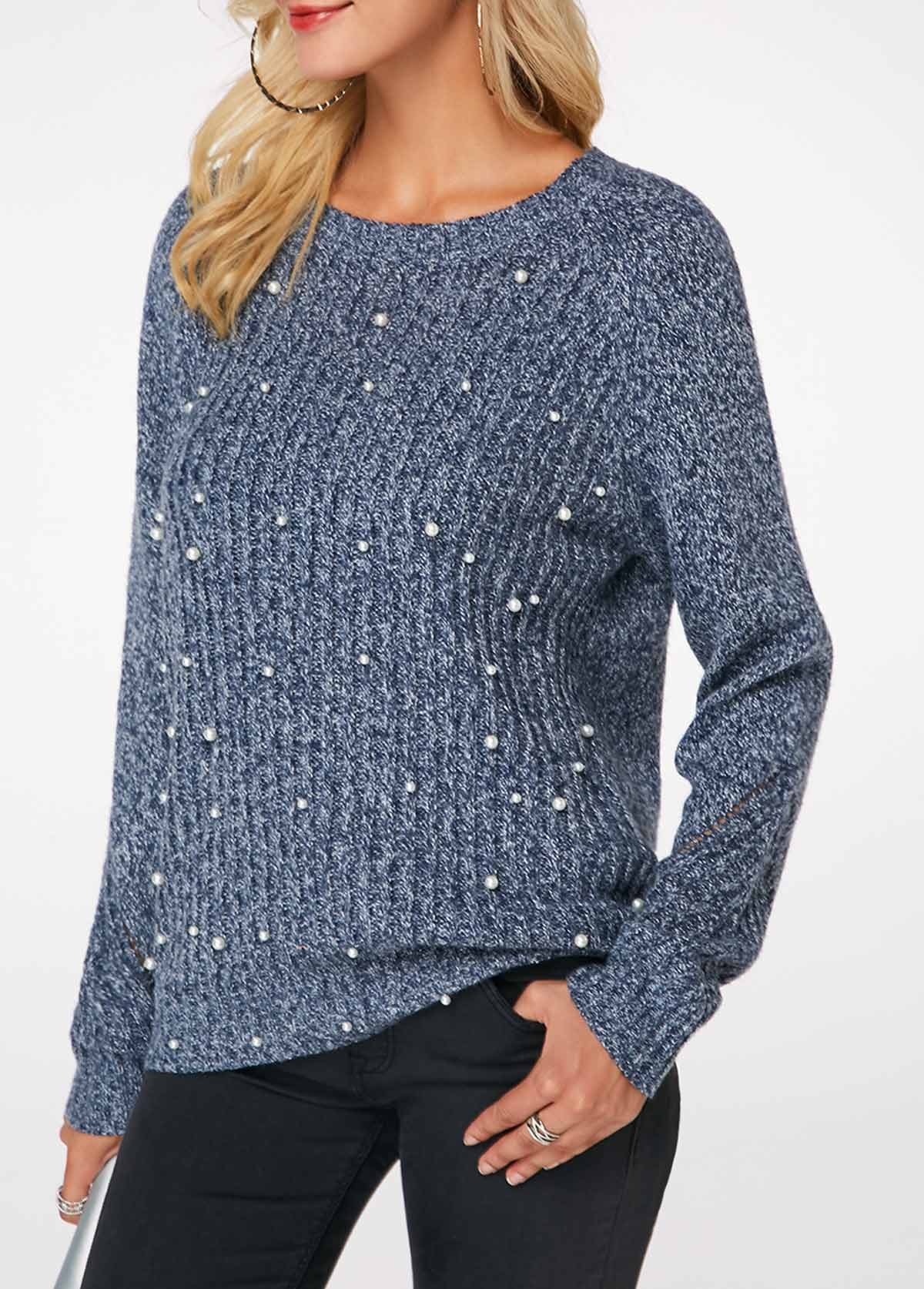 Dusty Blue Round Neck Faux Pearl Embellished Sweater