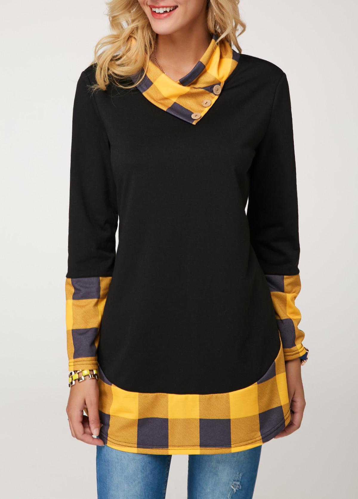 Long Sleeve Button Detail Plaid Print Tunic T Shirt
