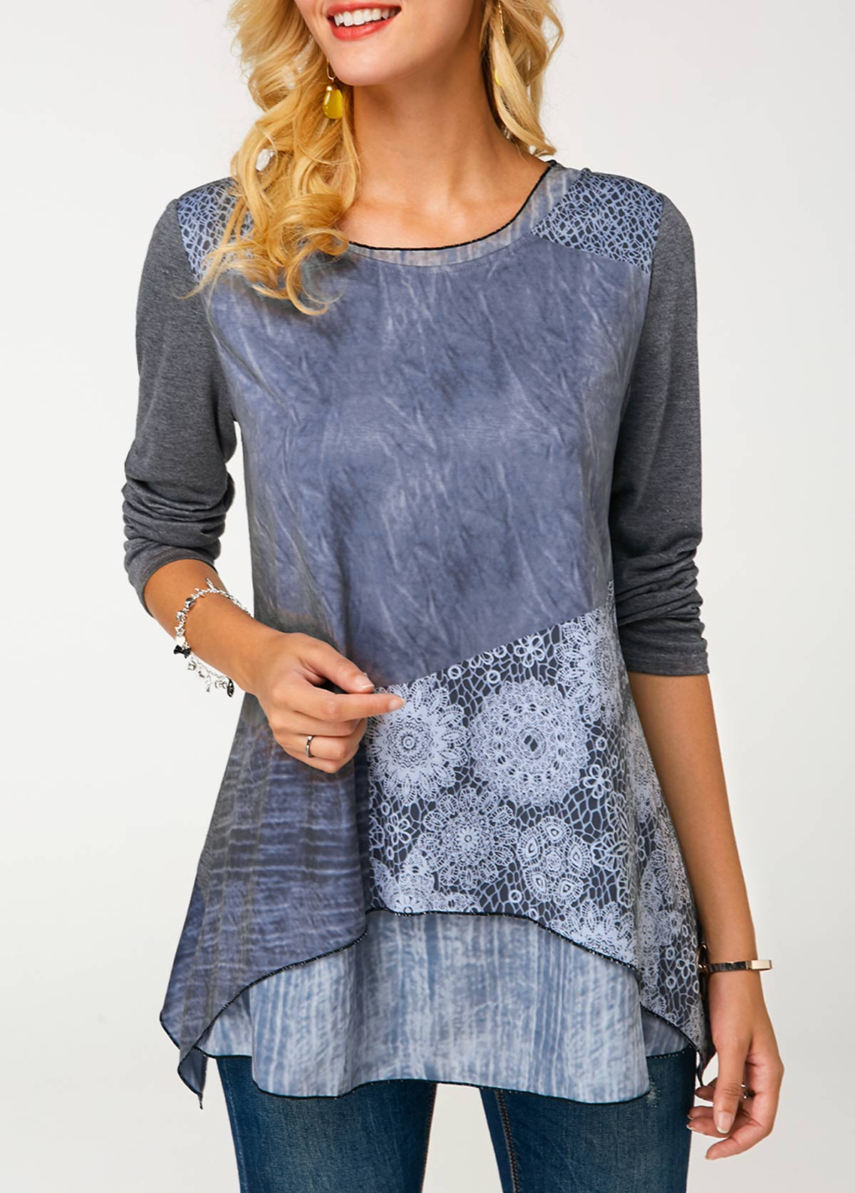 Long Sleeve Crew Neck Printed Layered Tunic T Shirt