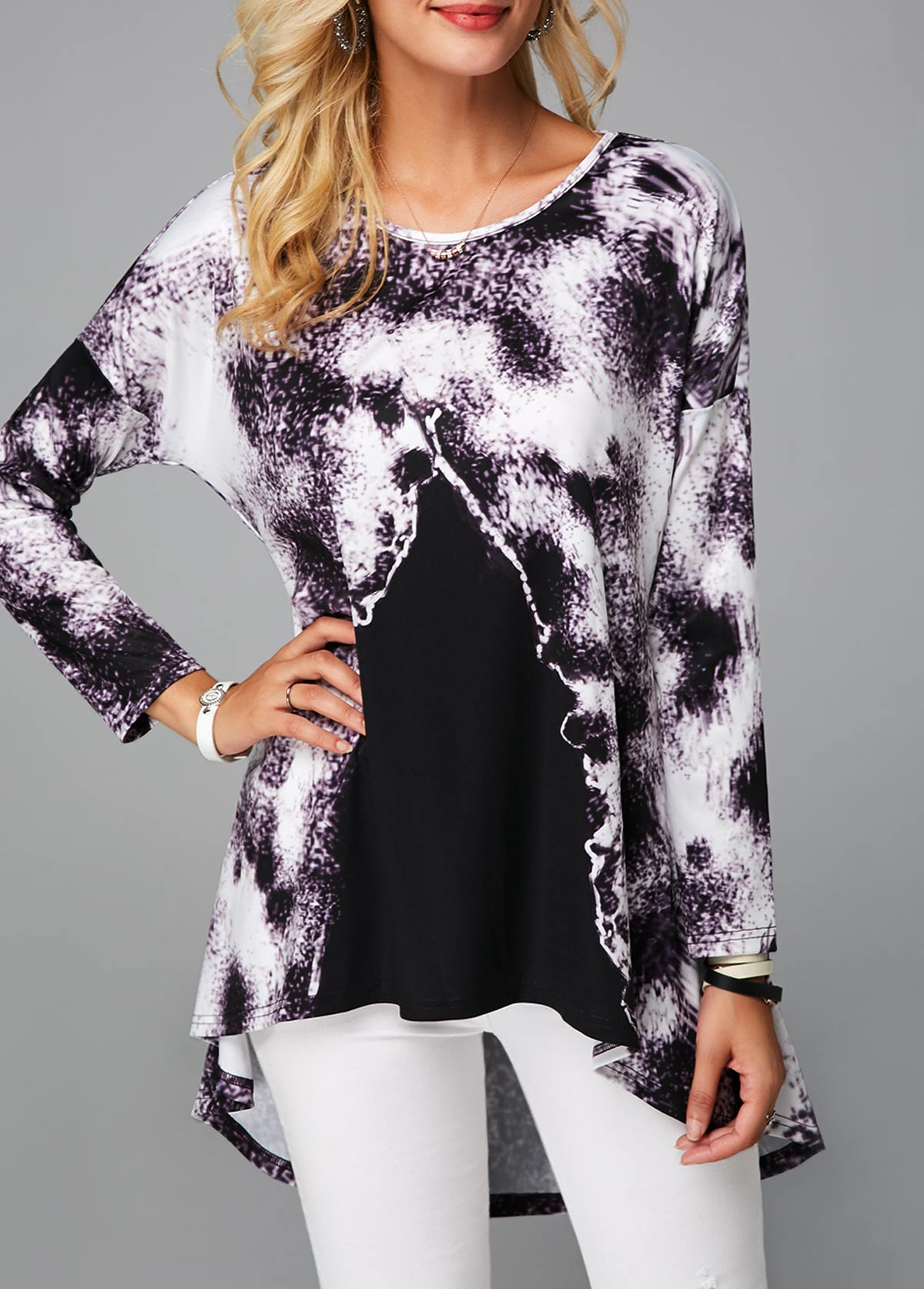 ROTITA Dip Hem Printed Long Sleeve Tunic Top