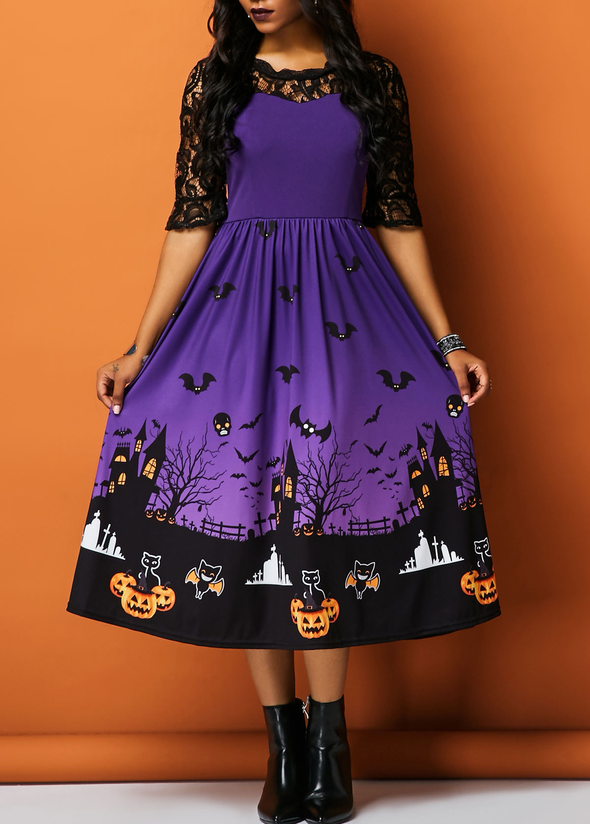 Half Sleeve Lace Panel Printed Halloween Dress
