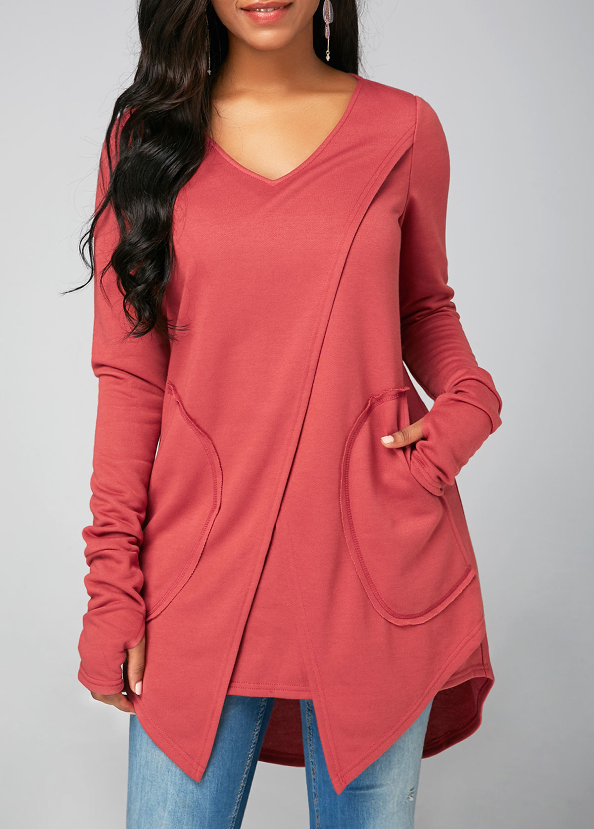 ROTITA Long Sleeve V Neck Pocket Sweatshirt