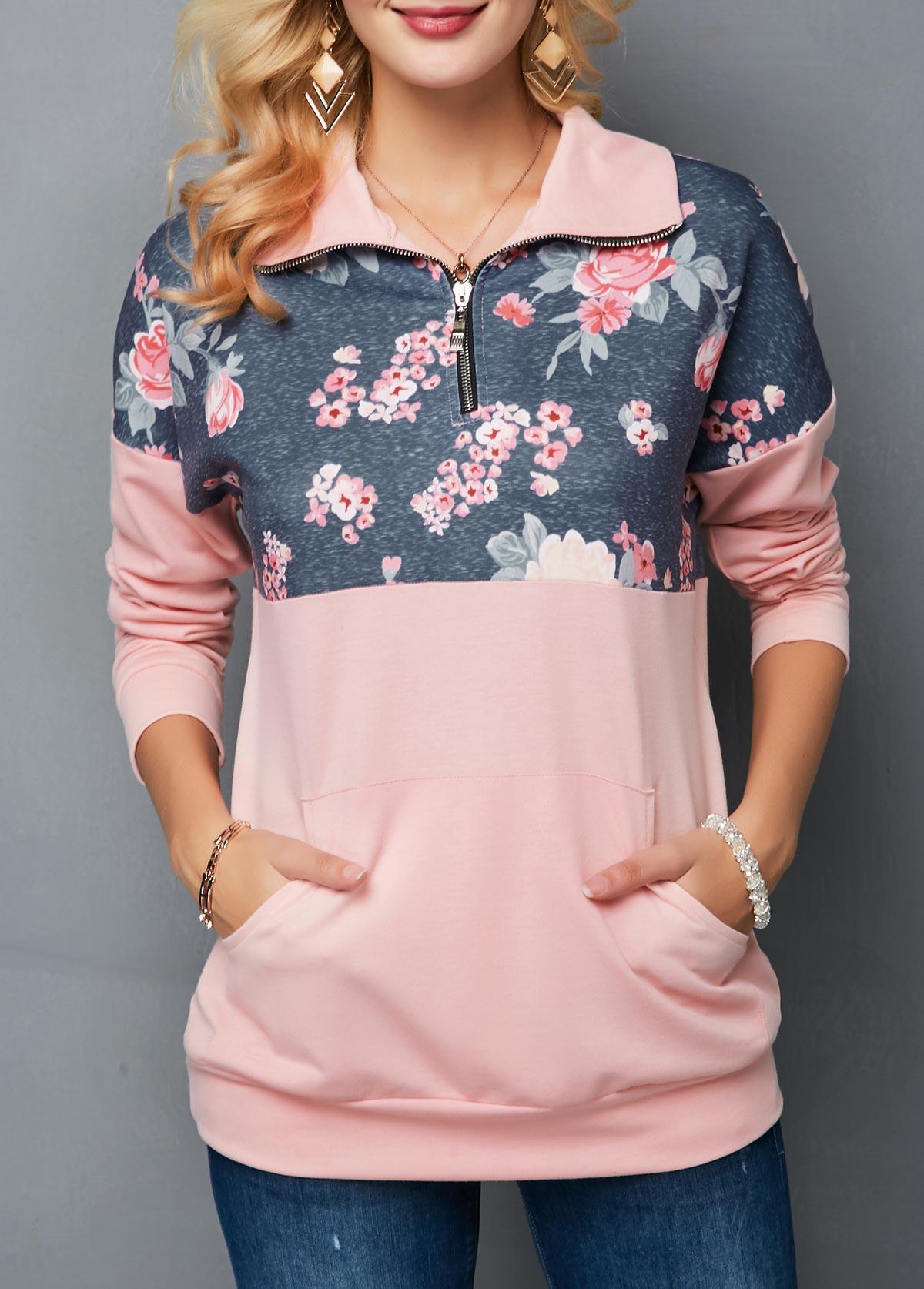 Drop Shoulder Kangaroo Pocket Flower Print Sweatshirt