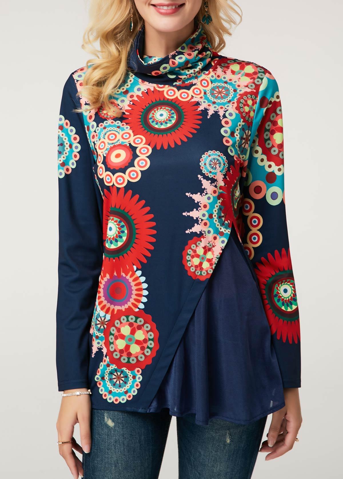 ROTITA Printed Long Sleeve Navy Blue Blouse